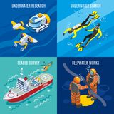 Undersea Depths Research Isometric Concept. With underwater search, sea bed survey, deep water works isolated vector illustration Stock Photo
