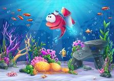 Undersea fisk med raket Arkivbild