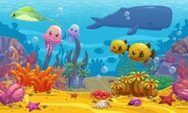 Undersea landscape. Seamless underwater cartoon  illustration, undersea landscape Stock Photography