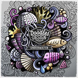 Undersea life cartoon vector doodle illustration. Colorful detailed design with lot of objects and symbols. All elements separate Royalty Free Stock Photos