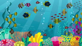 Undersea. Looping animation of underwater world with corals and fish stock video