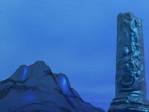 Undersea Pillar. Rendering of an undersea mountain and pillar Stock Photography
