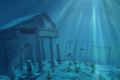 Undersea Ruins. Mysterious ruins of a former civilization lie forgotten undersea - 3D render with digital painting Stock Photos