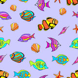 Undersea seamless pattern. On lilac background Royalty Free Stock Photo
