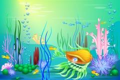 Undersea värld för vektor med ett guld- snäckskal och fisk Olika havsväxter och slösar pärlan Arkivbild