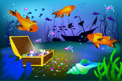 Undersea vector illustration with sunk ship and chest with gems with fish. Undersea vector illustration with sunk ship and chest with gems and big fishes Royalty Free Stock Images