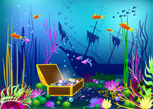 Undersea vector illustration with sunk ship and chest with gems. For games and sites Royalty Free Stock Image