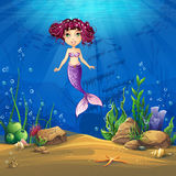 Undersea world with brunette mermaid Vector illustration backgro Royalty Free Stock Images
