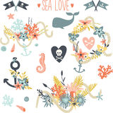 Undersea world. Collection for wedding invitations