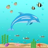 Undersea world with dolphin and fish. Vector illustration Royalty Free Stock Image