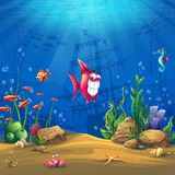 Underwater world with fish Vector illustration background Stock Images