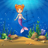Undersea world with haired mermaid Vector illustration backgroun Stock Image