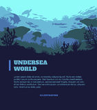 Undersea world illustration background, colored silhouettes elements, flat Stock Image