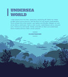 Undersea world illustration background, colored silhouettes elements, flat Royalty Free Stock Photo