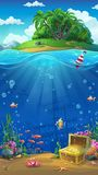 Island in the ocean - vector illustration. Undersea world with island mobile format. Marine life landscape - the ocean and the underwater world with different Royalty Free Stock Image