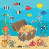 Undersea world with opened wooden chest with treasures. Marine life landscape - the ocean and the underwater world with stock illustration