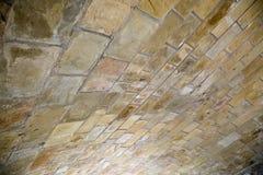 Underside of brick bridge. Architectural details of arched brick underside of bridge stock image