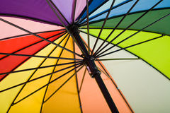 Underside of a colorful rainbow umbrella Royalty Free Stock Image