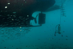 Underside of dive boat Royalty Free Stock Images