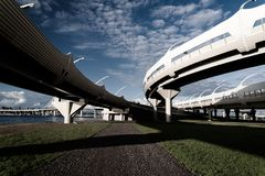 Underside of an elevated roads against the blue sky Royalty Free Stock Photos