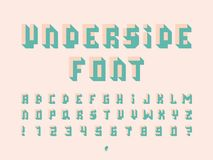 Underside font. Vector alphabet. Letters and numbers. Typeface design Stock Photos