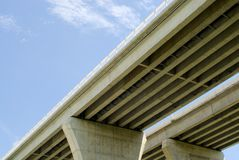 Underside of highway bridges on blue sky. Underneath pair of large concrete highway bridges against partly cloudy blue sky Stock Photography