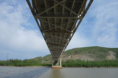 Underside of a long bridge. Stock Photography