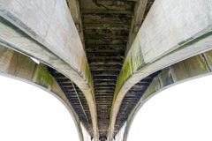 Underside of a modern concrete bridge span. Royalty Free Stock Photography