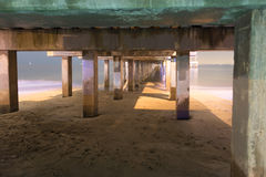 Underside Pier, Brooklyn, NY. Underside of pier at night in Coney Island Brooklyn, long time exposure Stock Photography