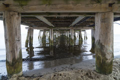 Underside of pier Sopot. The underside of the Molo, europes longest wooden pier. Sopot, Pomerania, Poland Stock Photo