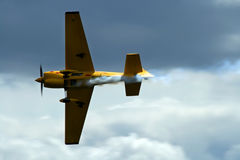 Underside of race plane. Through the sky stock photography