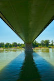 Underside of the Rhine bridge at Breisach Royalty Free Stock Images