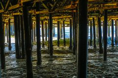 Underneath the Santa Monica Pier. The underside of the Santa Monica pier in Los Angeles, California royalty free stock photography