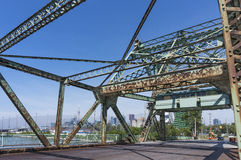Underside view of an old rusted bridge in Toronto Royalty Free Stock Photography