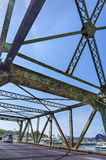 Underside view of an old rusted bridge in Toronto Royalty Free Stock Images