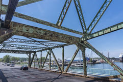 Underside view of an old rusted bridge in Toronto Stock Photos