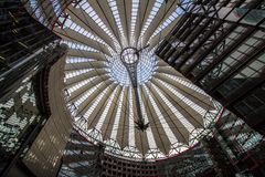 Sony Center at Potsdamer Platz in Berlin, germany. Underside view on sail roof structure inside Sony Center at Potsdamer Platz, Berlin, Germany royalty free stock photography