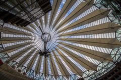 Sony Center at Potsdamer Platz in Berlin, germany. Underside view on sail roof structure inside Sony Center at Potsdamer Platz, Berlin, Germany stock image