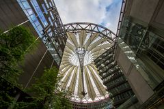 Sony Center at Potsdamer Platz in Berlin, germany. Underside view on sail roof structure inside Sony Center at Potsdamer Platz, Berlin, Germany royalty free stock photo