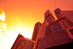 Underside view to new business center at sunset Royalty Free Stock Photo