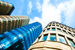 Underside view to new modern skyscrapers Royalty Free Stock Photo