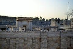 Understödja tempelet Modellera av den forntida Jerusalem Israel Museum i Jerusalem arkivfoto