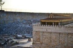 Understödja tempelet Modellera av den forntida Jerusalem Israel Museum i Jerusalem arkivbild