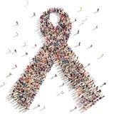 Understödjande bröstcancermedvetenhet för folk stock illustrationer