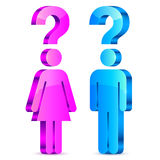 Understand Men and Women Concept. Abstract man and woman figure with question marks Royalty Free Stock Images