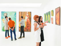 Understanding art at exhibition opening Royalty Free Stock Photography