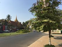 Understanding Buddhism Forum. Road in front of the Understanding Buddhism Forum in Phnom penh Cambodia Royalty Free Stock Image