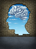 Understanding Human Intelligence. With a broken brick wall in the shape of a head revealing a sky and clouds in the shape of a brain as a health care symbol of Royalty Free Stock Photography