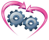 Understanding and love. Spinning gears and arrows in the form of the heart Stock Image