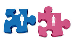Understanding men and women interaction and relationships. Blue and pink puzzle pieces with male and female symbol  over white, Understanding men and women Stock Images